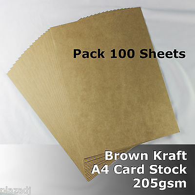 100 Sheets Kraft Brown ReCycled Enviro Card A4 Size 205gsm #S0108