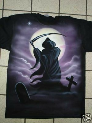 Airbrushed Gothic Grim Reaper Horror skull t-shirt in sizes small to XXXL