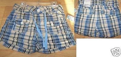 Girl's Size 10 Squeeze Jeans Cotton Shorts Blue Beige Plaid New