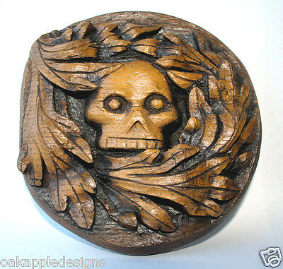 Green Man Skull Gothic Wall Plaque Greenman Carving Oak