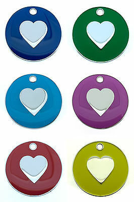 Personalised Pet Cat HEART 20mm Identity ID Tag Disc Engraved FREE