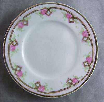Antique Porcelain Pink Roses Art Deco Trim Butter Plate