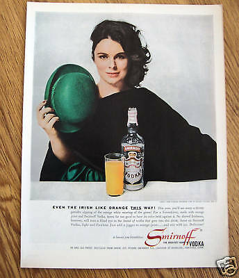 1961 Smirnoff Vodka Ad Lovely Erin O'Brien