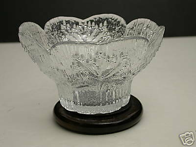 Italy Glass Bowl Clear Ice Textured Trees