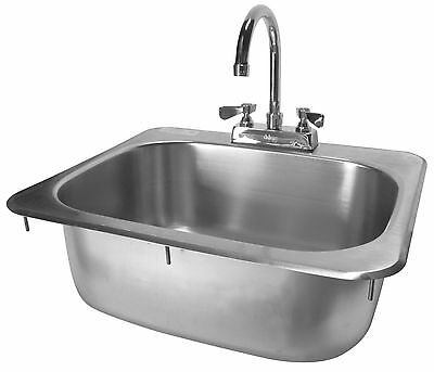 ACE Stainless Steel 20 x 17 Drop-In Hand Sink with Faucet ETL approved HS-2017IG