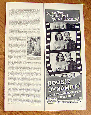 1952 Movie Ad Double Dynamite Jane Russell Groucho Marx