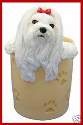 MALTISE Dog Collectible Desk Pencil Holder Gift NEW Hand Painted