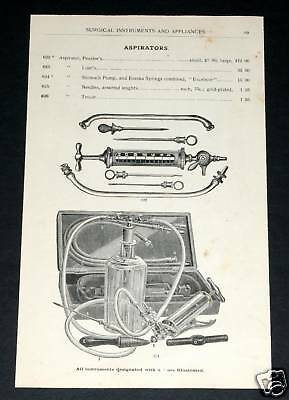 1891 Wocher Surgical Catalog Page 69, Aspirators Surgical Pump Physician Outfit!