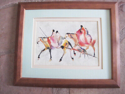Carol Grigg MOVING CAMP framed MATTED CHEROKEE PRINT