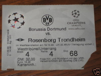 Borussia Rosemborg Ticket Champions League 1999/00