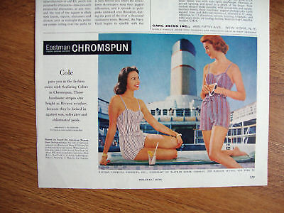 1958 Eastman Chromspun Swim Suits Ad Cole