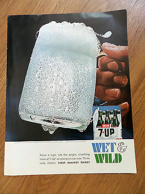 1967 7up Soda Bottle Ad Wet & Wild