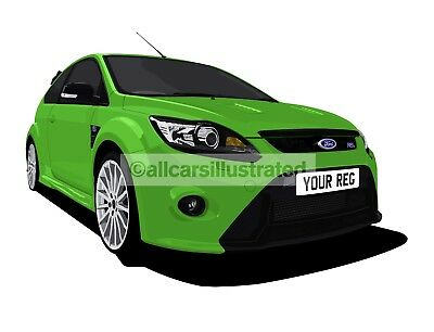 Focus Rs Car Art Print (Size A3). Personalise It!