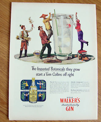 1948 Hiram Walker's Gin Ad  Imported Botanicals