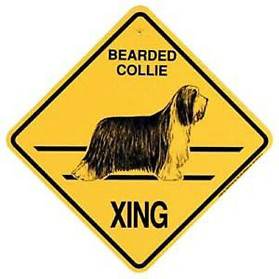 "Bearded Collie  Xing Sign Dog Crossing NEW 10-3/4"" x 10-3/4"""