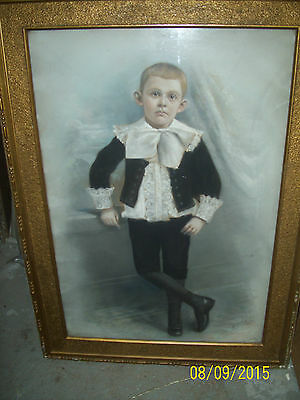 old painting signed canvas 19th century rare vintage young boy rare OLD PAINTING