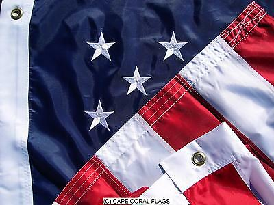 4' X 6' U.s./Usa  American Flag Nylon Embroidered Solid Brass Grommets 4X6