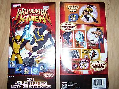 Box of 34 X-Men Wolverine Valentines Day Cards Stickers