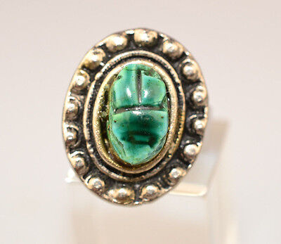 Vintage Adjustable Egyptian Faience Glazed Turquoise Scarab Silverplated Ring