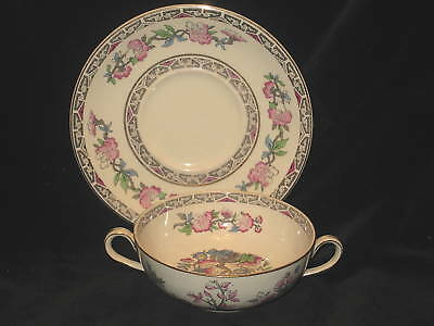 J & G MEAKIN - INDIAN TREE - CREAM SOUP AND SAUCER