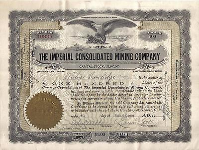 USA Bond 1919 Imperial Consolidated Mining Arizona Deco