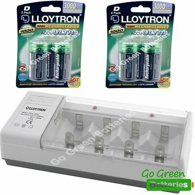 Lloytron Universal Charger + 4 D Size 3000 mAh Rechargeable Batteries HR20 LR20
