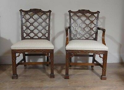 10 Mahogany Gothic Chippendale Dining Chairs Diners • £4,455.00