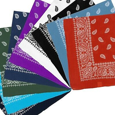 NEW Extra Large XL Paisley Bandana Bikers Head SCARF 8 Colours Soft Lightweight