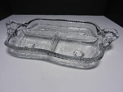 "Paden City Gadroon 3 Part Relish Clear w Etch Hdld 12""L"