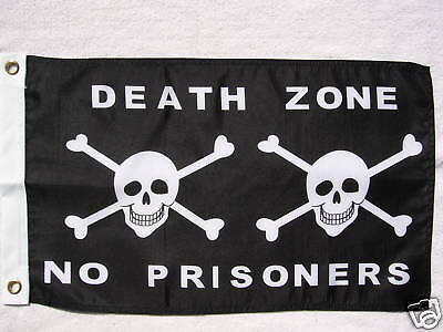 """Death Zone Pirate Flag 12""""x18"""" Boat/motorcycle"""