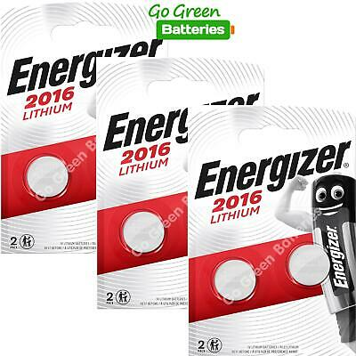 6 x Energizer CR2016 3V Lithium Coin Cell Button Battery EXPIRY 2029 *New Packs*