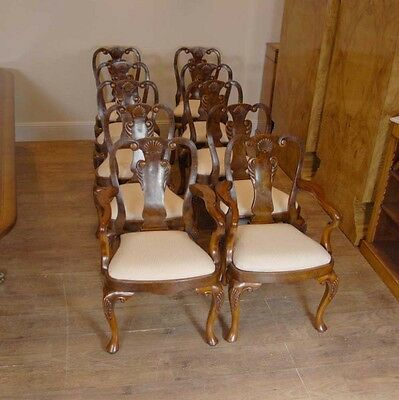 10 English Queen Anne Walnut Dining Chairs Ann Chair