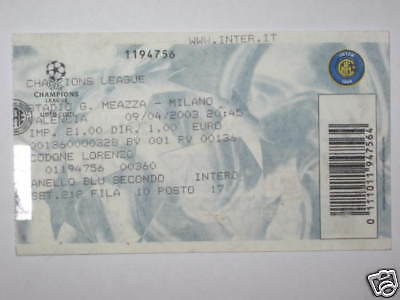 Inter Valencia Spain Biglietto Ticket 02/03 C.l.