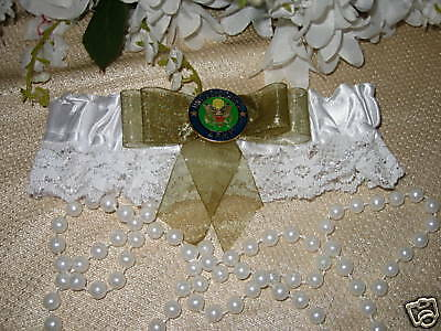 Wedding Ceremony Reception Party US Army Military Satin & Lace Garter