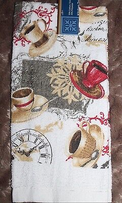 NEW COTTON / POLY COFFEE TEA CUPS KITCHEN  DISH TOWEL White Red and Gold