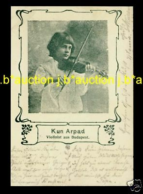 KUN ARPAD Young Violinist from Budapest / Geiger * Vintage 1900s PC