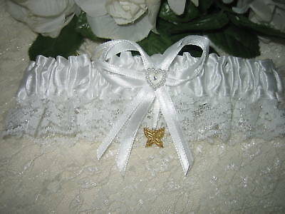 Wedding Reception Ceremony Party Satin & Lace Butterfly Garter