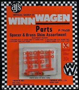 Original Winn Wagen Slot Car Parts Spacers & Brass Shim