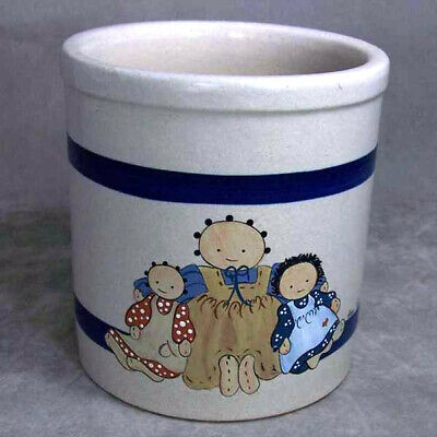 USA Robinson Ransbottom Pottery Williamsburg Raggedy Dolls Jar  Small Crock