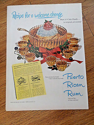 1949 Puerto Rican Rum Ad Cider Punch