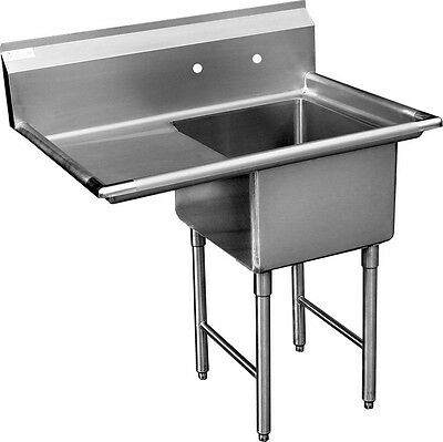 "ACE 1 Compartment Stainless Steel Sink 24""x24"" with Left Drainboard ETL SH24241L"