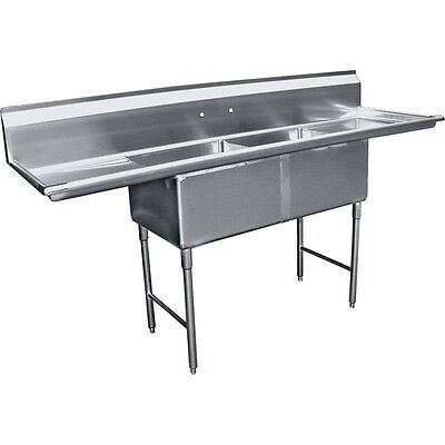 "ACE 2 Compartment 24""x24"" Stainless Steel Sink with Two Drainboards ETL SH24242D"