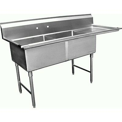 "2 Compartment Stainless Steel Sink 24""x24"" w/ Right Drainboard, ETL SH24242R"