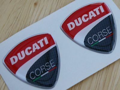 Ducati Corse pair of 3D Domed Badges 2010 Style 30mm