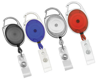 LOT 25 NEW CARABINER RETRACTABLE ID BADGE REEL-2 color