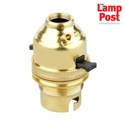 """Brass Lampholder Lamp Holder Switched Bayonet BC B22 1/2"""" Entry"""