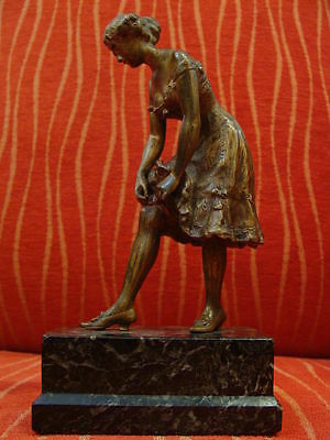 Bronze Sculpture Sensual Lady Figure Marble Base