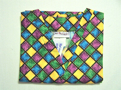 Harlequin Scrub Top - M 100% Cotton Multi-Color Diamonds Unisex MAS