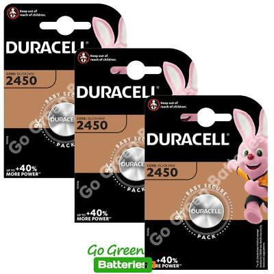 3 x Duracell CR2450 3V Lithium Coin Cell Battery 2450 DL2450 K2450L, long exp.