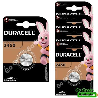 5 x Duracell CR2450 3V Lithium Coin Cell Battery 2450 DL2450 K2450L, long exp.